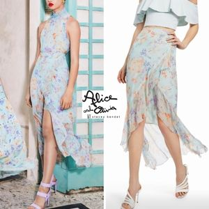 ALICE + OLIVIA Caily Ruffled Luxe Mock Wrap Skirt